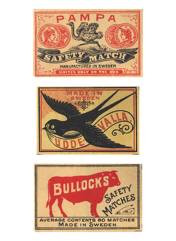 Vintage matchboxes