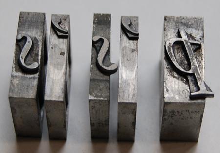 The kerning of metal type