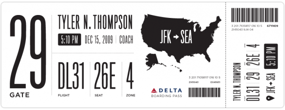 Boarding pass redesigned by Tyler Thompson