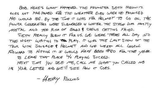 Letters of note: Henry Rollins