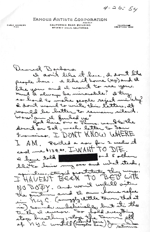 Letters of note: James Dean