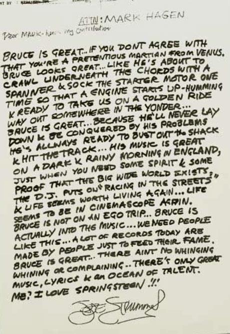 Letters of note: Joe Strummer